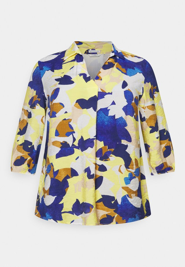 BLOUSE WITH OPEN COLLAR - Blouse - multi-coloured