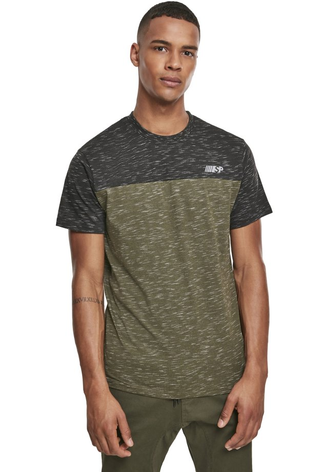 HERREN COLOR BLOCK TECH TEE - T-shirt imprimé - marled olive