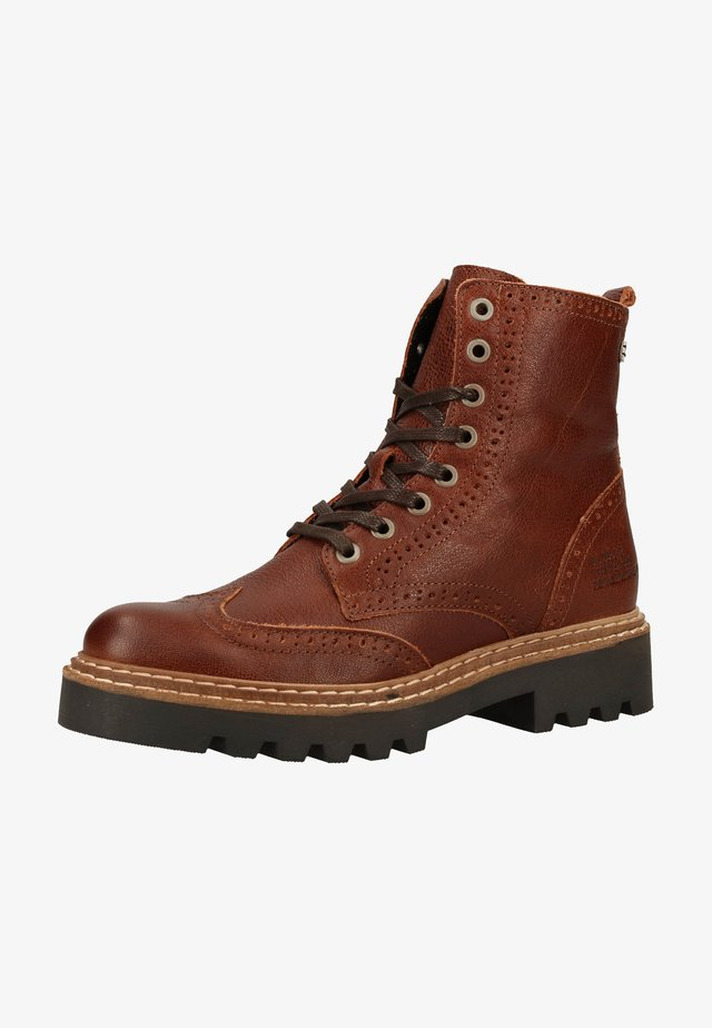 Šněrovací kotníkové boty - tan/cognac cogn