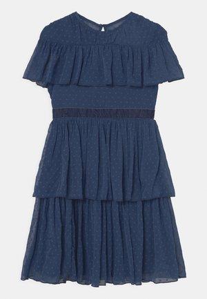 DOBBY SPOT BARDOT RUFFLE TIERED DRESS - Cocktailjurk - indigo blue