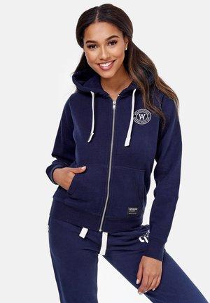 Sweater met rits - blau-weiß