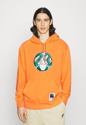 WASHED HOODIE - Sweatshirt - atomic orange