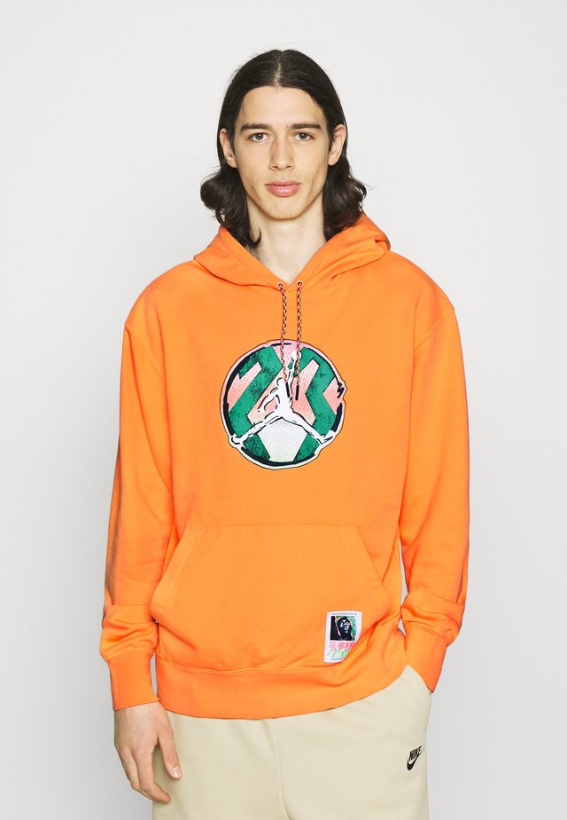 WASHED HOODIE - Sudadera - atomic orange