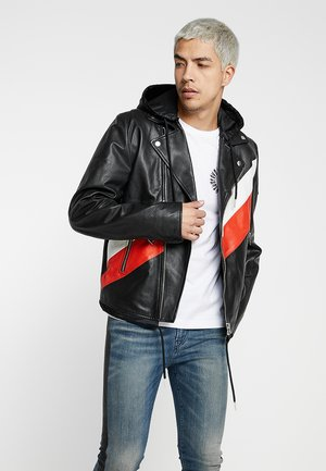 L-SOLOVE JACKET - Leather jacket - black/red/white