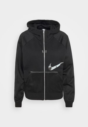 Zip-up hoodie - black/metallic silver