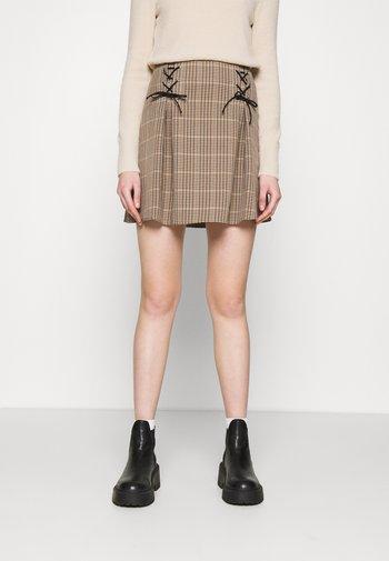 LACE UP CHECK - Mini skirt - multi