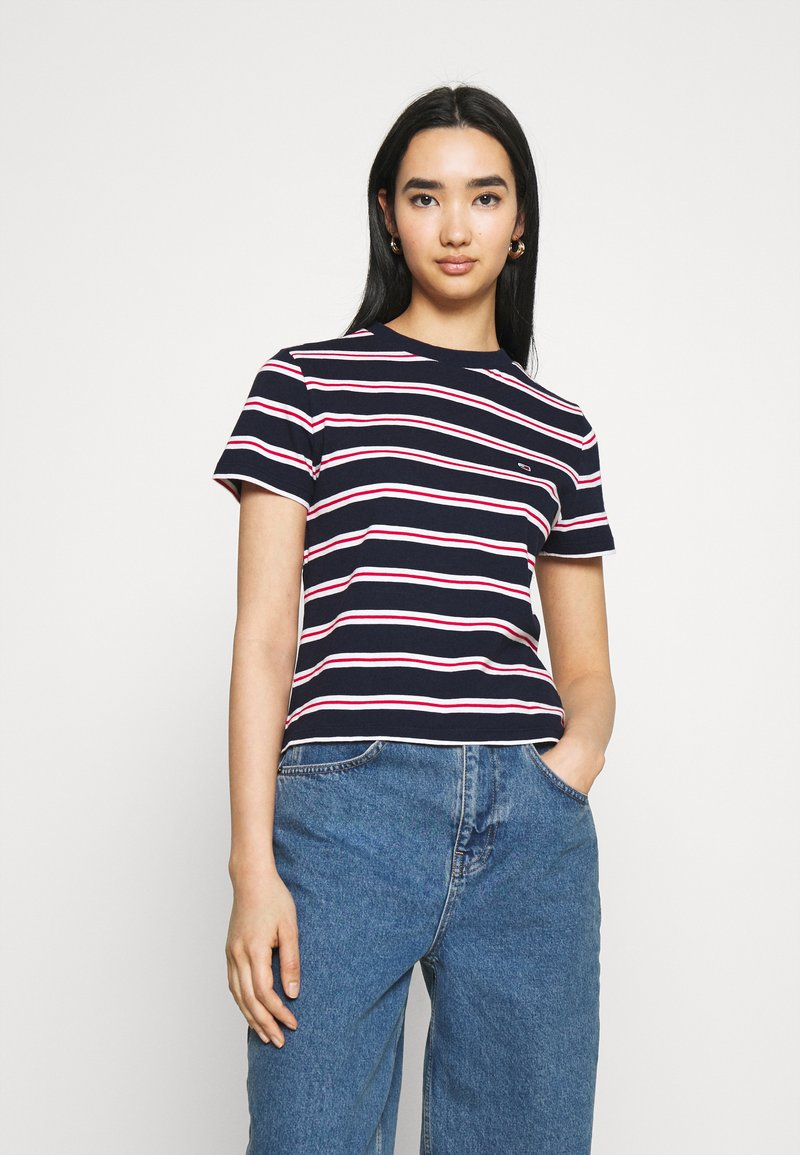 Tommy Jeans - REGULAR CONTRAST BABY TEE - Print T-shirt - twilight navy