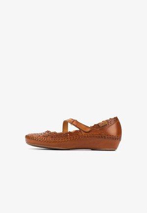 P. VALLARTA  - Ankle strap ballet pumps - brandy