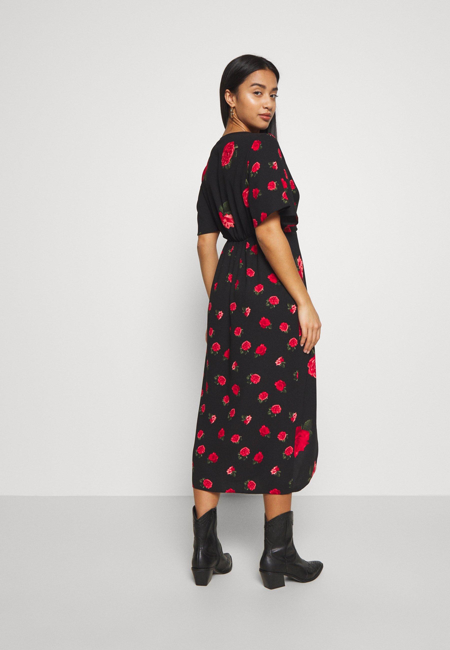 Dorothy Perkins Petite ROSE PRINT MIX AND MATCH MANIPULATED WAIST MIDI DRESS - Robe d'été - pink - Robes femme RVMWc