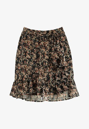 ANN - Wrap skirt - flower black