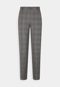 Selected Femme Tall - SLFEMILO CROPPED PANT CHECK - Trousers - medium grey melange - 0