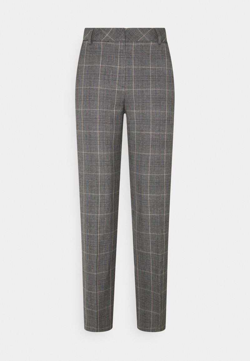 Selected Femme Tall - SLFEMILO CROPPED PANT CHECK - Trousers - medium grey melange