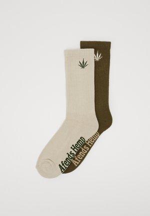 HAPPY 2 PACK - Ponožky - dark olive/natural