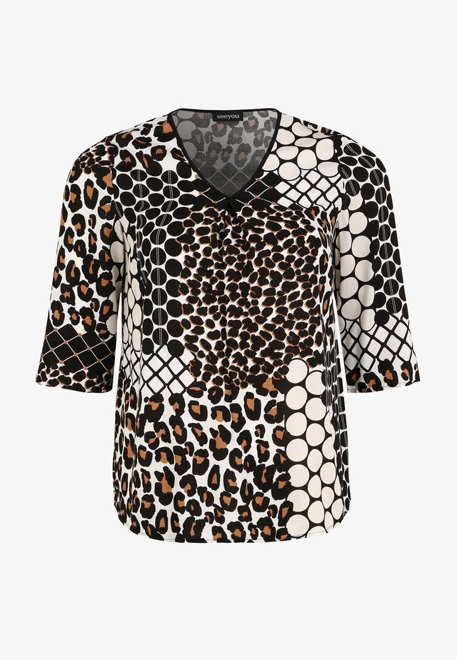 Blouse - mottled beige, brown, black