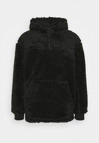 Weekday - ALEX PILE HOODIE UNISEX - Fleece jumper - black - 0