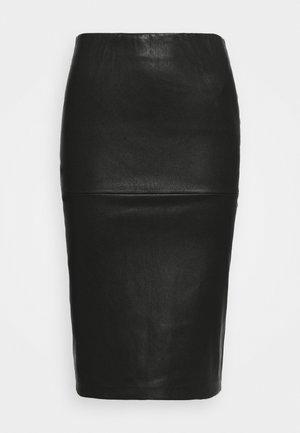 FLORIDIA - Kožená sukně - black