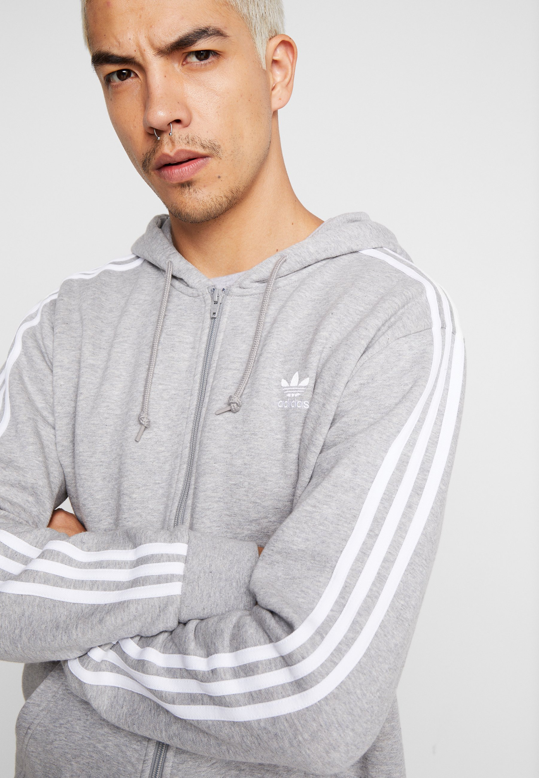 Adidas Originals 3-stripes - Bluza Rozpinana Medium Grey Heather