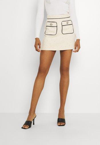 TIE BREAK TWEED MINI SKIRT - Mini skirt - beige