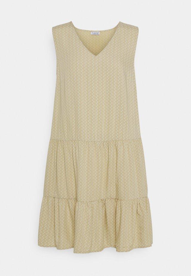 PRINTED VOLANT DRESS DOTS - Vestido informal - mustard yellow