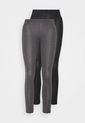 2 PACK  - Legginsy - black/mottled dark grey