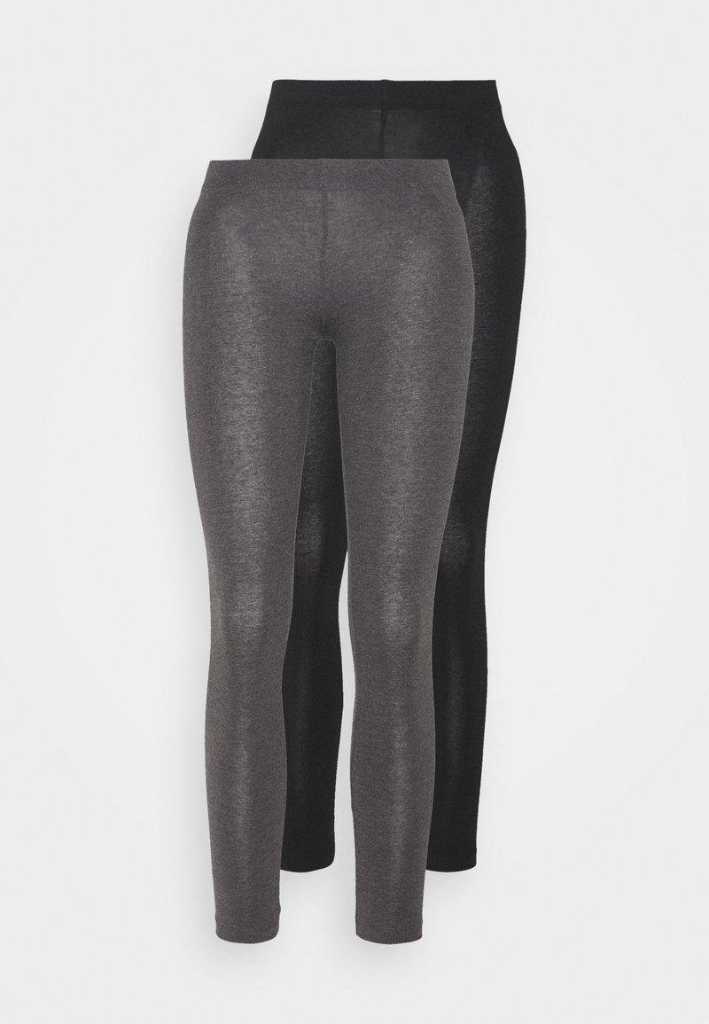 Even&Odd Petite - 2 PACK  - Leggings - black/mottled dark grey