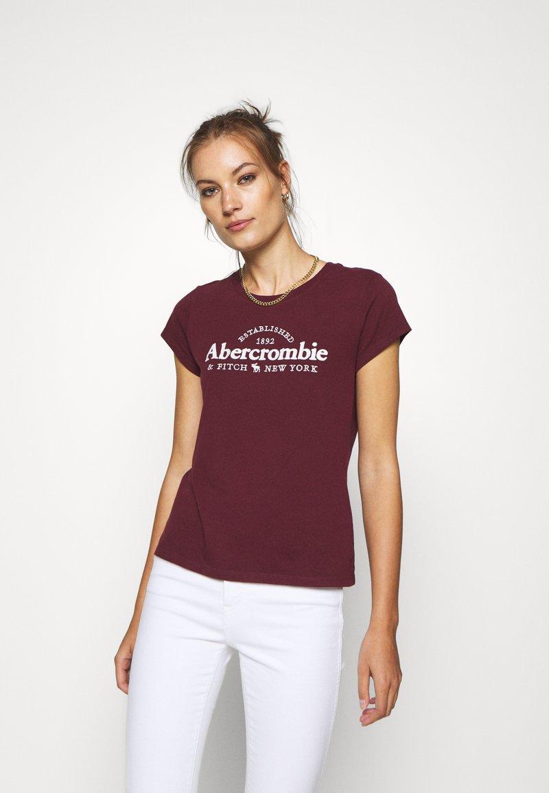 Abercrombie & Fitch - LONG LIFE LOGO  - Print T-shirt - burg