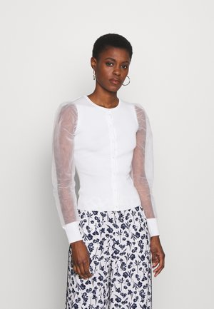 ORGANZA SLEEVE BUTTON UP - Chaqueta de punto - white
