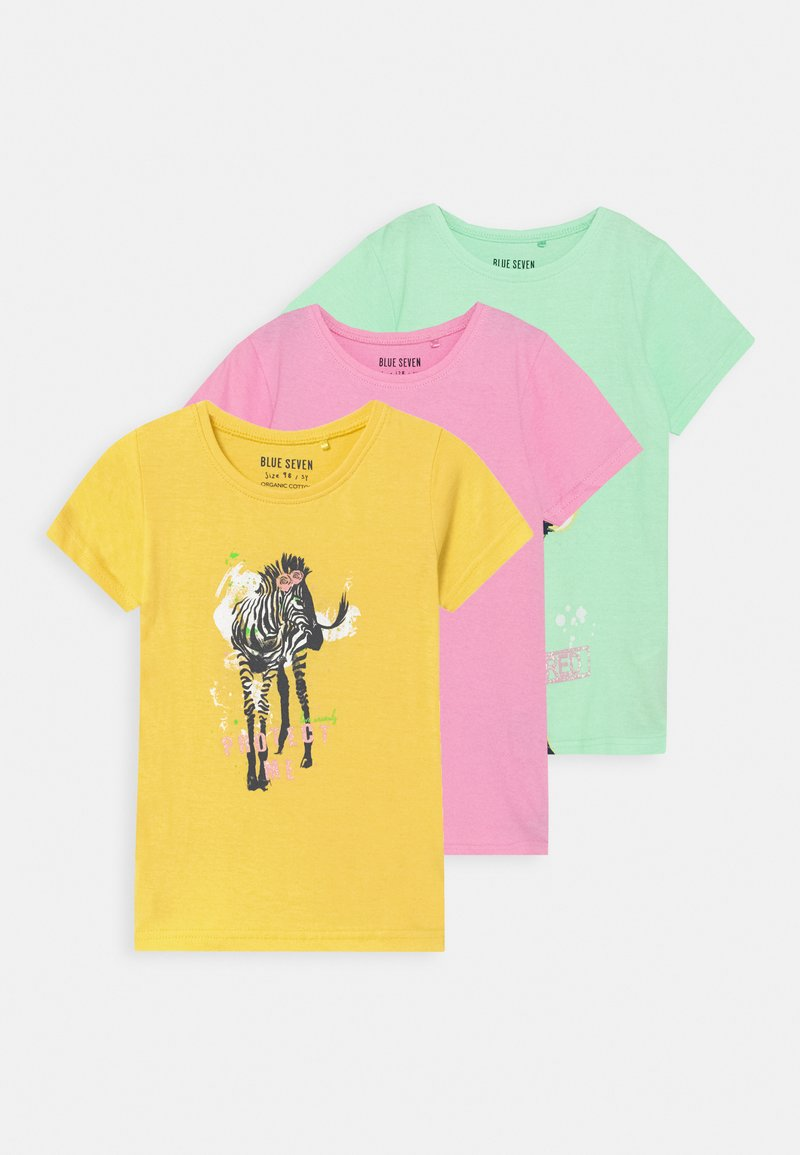 Blue Seven - SMALL GIRLS ZEBRA GIRAFFE 3 PACK - T-shirt con stampa - multi-coloured