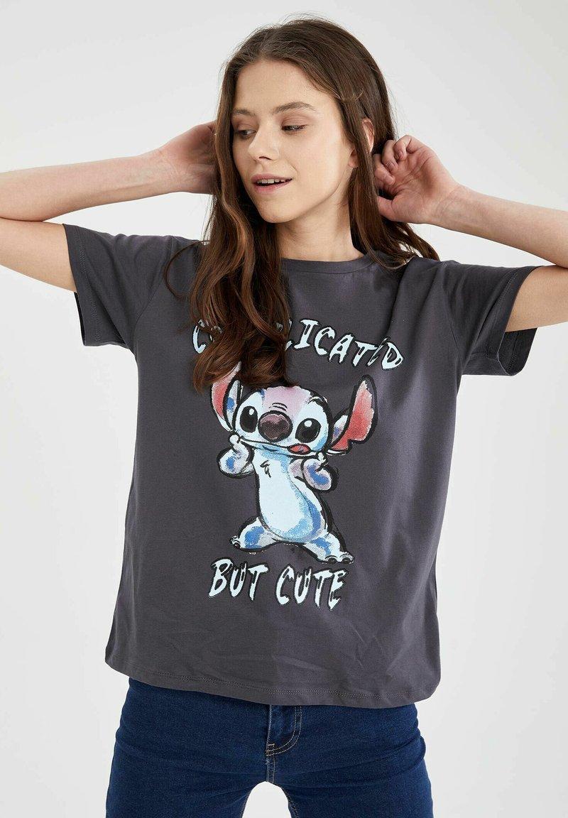 DeFacto - DISNEY LILO & STITCH - T-shirt print - anthracite