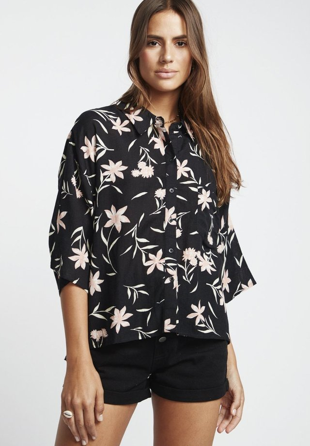 MIT KNOPFLEISTE - Button-down blouse - black