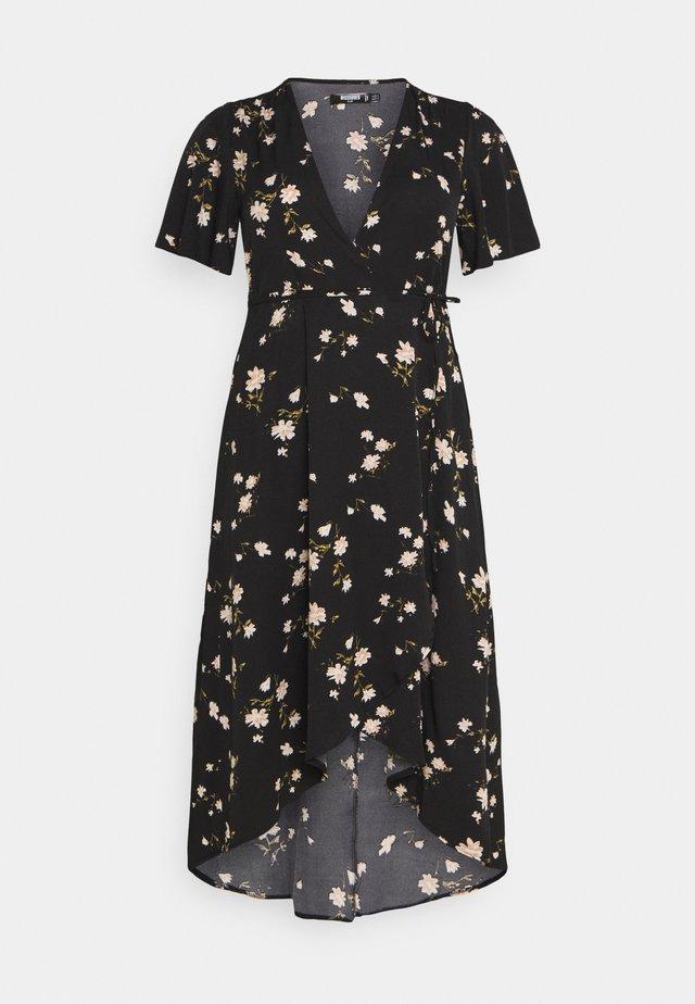 FLORAL WRAP MIDI DRESS - Korte jurk - black