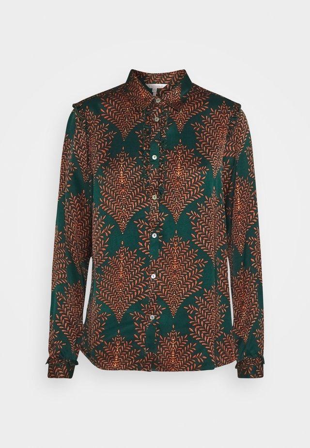 BLOUSE RUFFLE FERN PRINT - Button-down blouse - teal