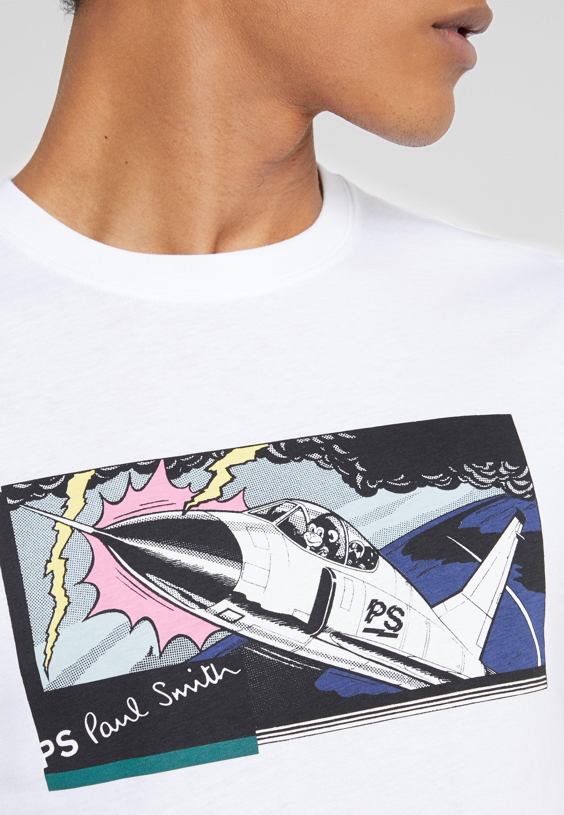 PS Paul Smith SLIM FIT JET - T-shirt imprimé - white