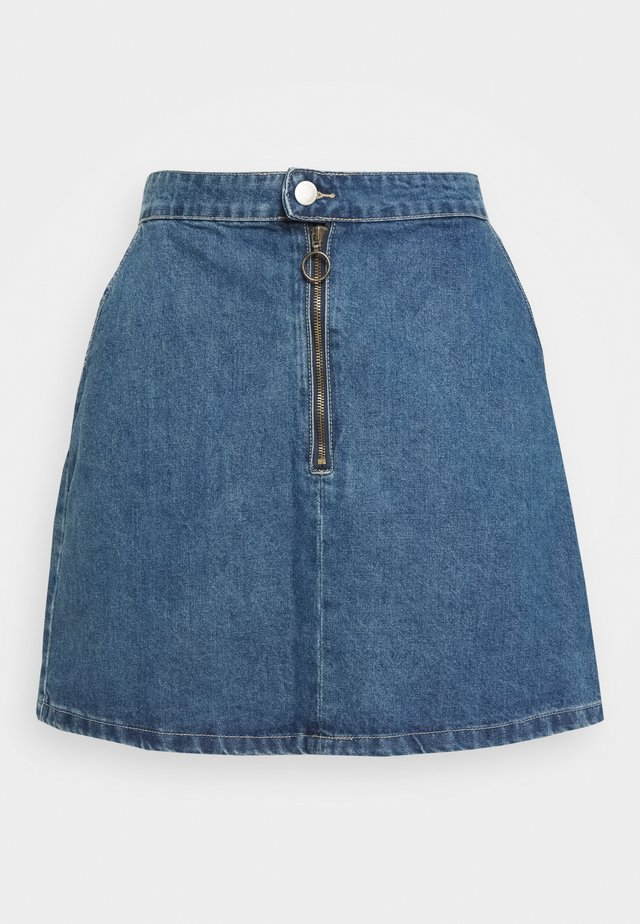 RING PUL SKIRT - Denim skirt - mid blue wash