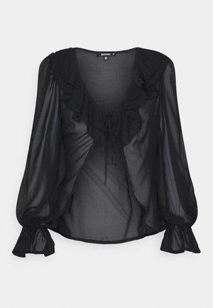 BALLOON SLEEVE TIE UP  - Long sleeved top - black