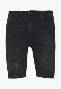 11 DEGREES - RIP AND REPAIR  - Denim shorts - washed black - 0