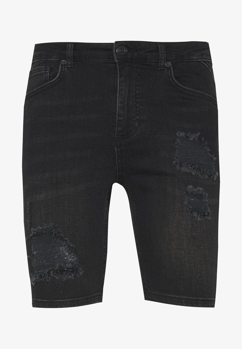 11 DEGREES - RIP AND REPAIR  - Denim shorts - washed black
