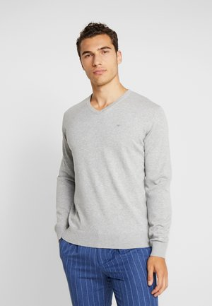 V NECK  - Jumper - light soft grey melange