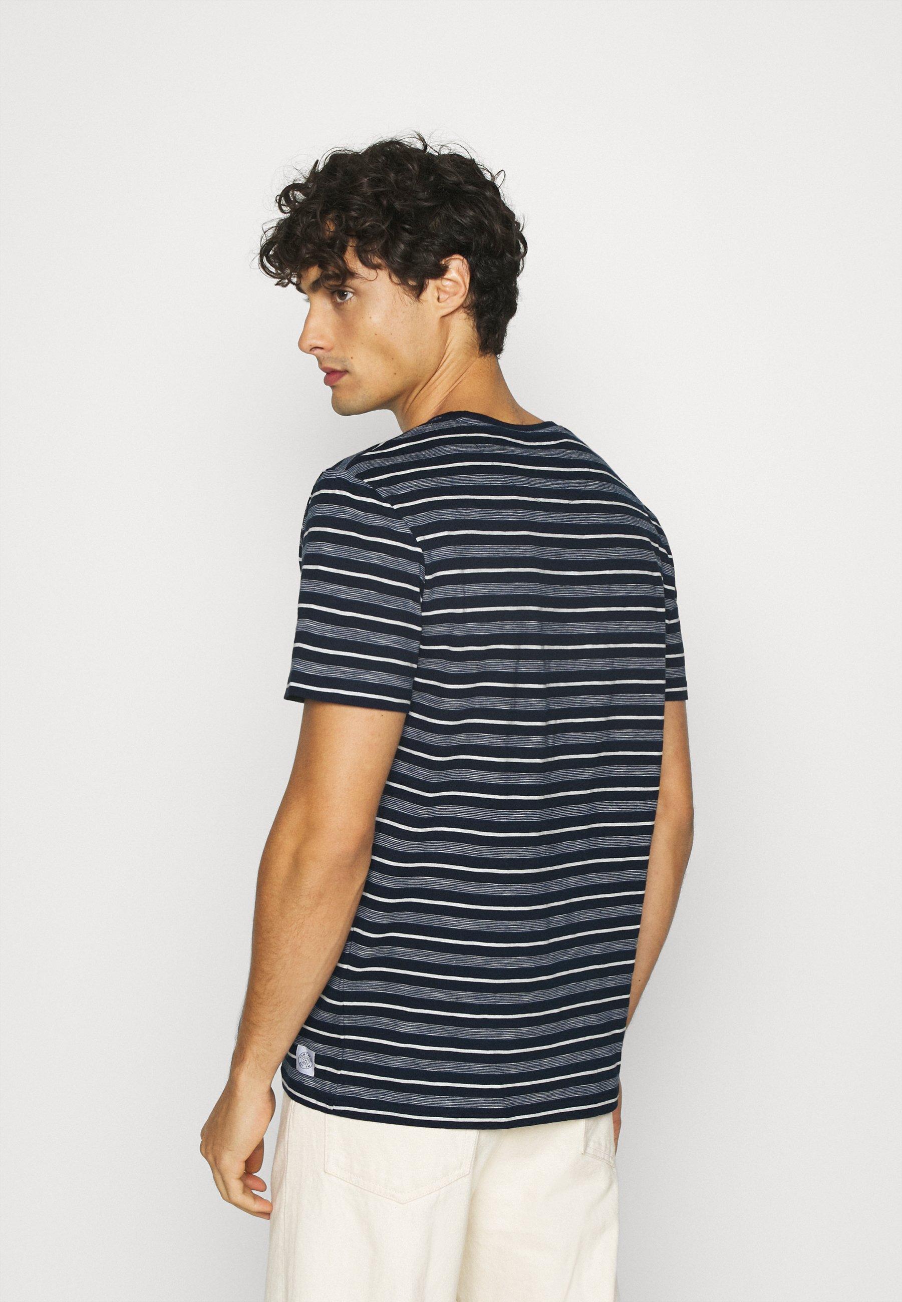 TOM TAILOR MULTI STRIPED - Print T-shirt - blue/off white qLJFd