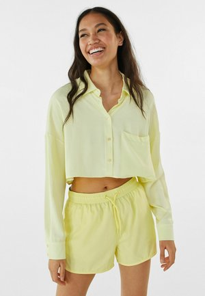 MIT TASCHE - Button-down blouse - light yellow