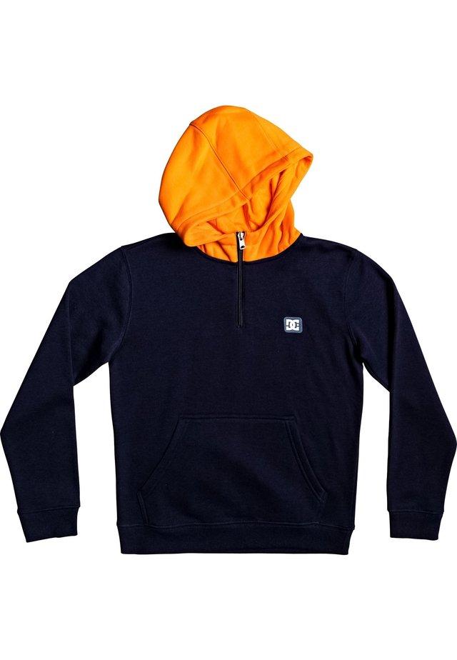 DC SHOES™ REBEL - HALF-ZIP HOODIE FOR BOYS 8-16 EDBFT03162 - Sweat à capuche - dark indigo/orange popsicle