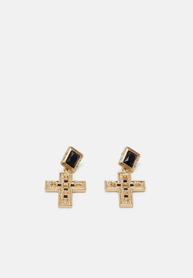 CROSS DROP - Oorbellen - gold-coloured