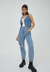 PULL&BEAR - Jeans a sigaretta - mottled dark blue - 1