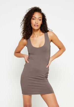 RAW EDGE SLINKY RACER MINI DRESS - Day dress - nude brown