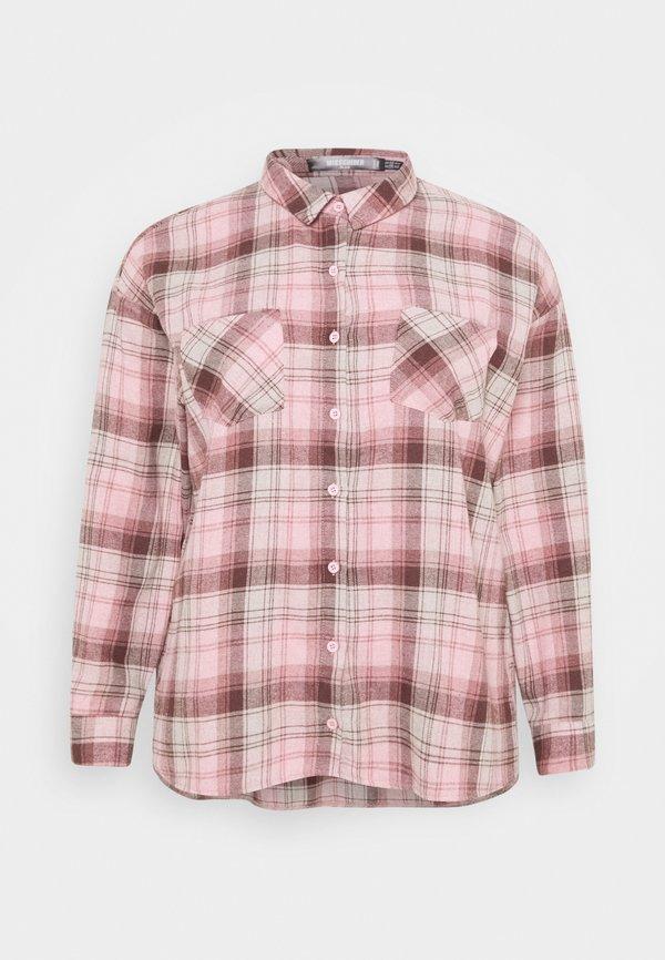 Missguided Plus OVERSIZED CHECK - Koszula - pink/rÓżowy VDZI