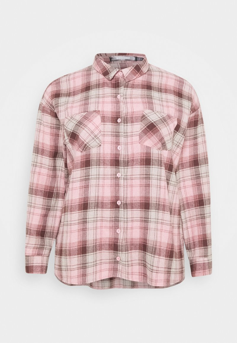 Missguided Plus - OVERSIZED CHECK  - Button-down blouse - pink