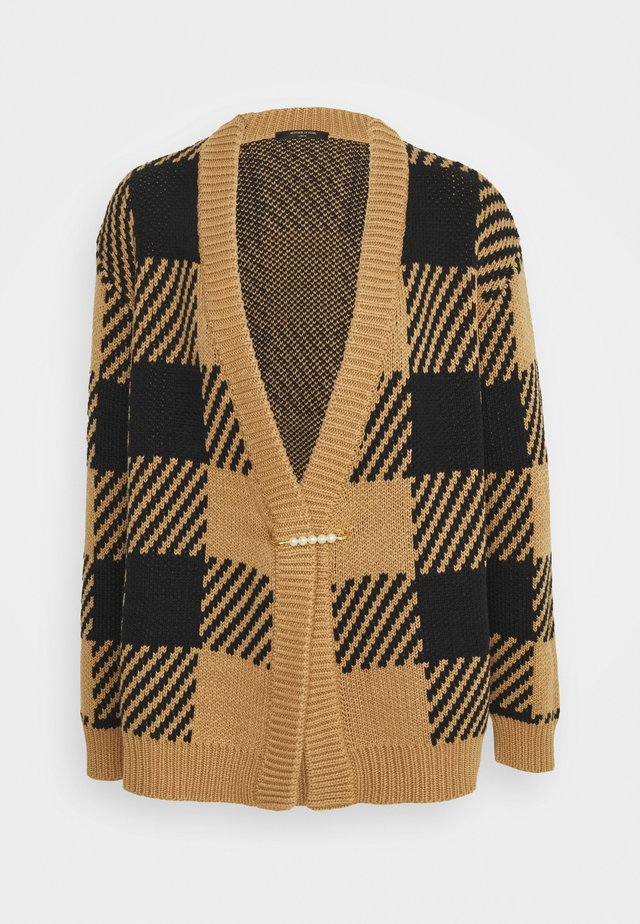 OVERSIZED CARDIGAN WITH PEARL SAFETY PIN - Cardigan - tan/black