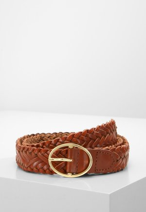 Braided belt - cognac