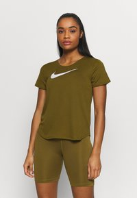 Nike Performance - RUN - Print T-shirt - olive flak/reflective silv/white - 0