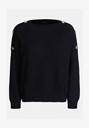 PULLOVER MIT KNOPF - Sweter - schwarz